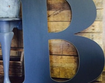 """Letter B Extra Large wooden  24"""" distressed hand painted custom capital alphabet.  Use as Guest Book for Wedding, Reception or Wedding Photo"""