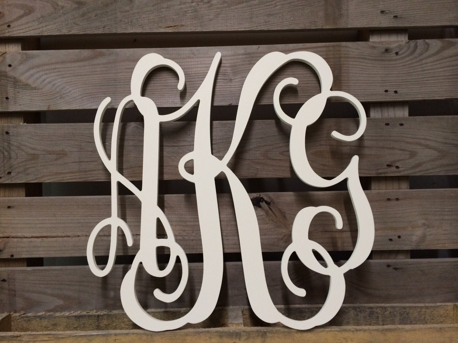 painted monogram extra large wall letters 30 cursive wooden letters wedding guest bookwedding decor 3 letters keyhole slots on back