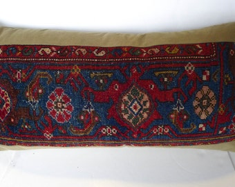 Antique Persian (Up-Cycled) Designer Rug Pillow 28 x 14 x 6 Ultra Suede