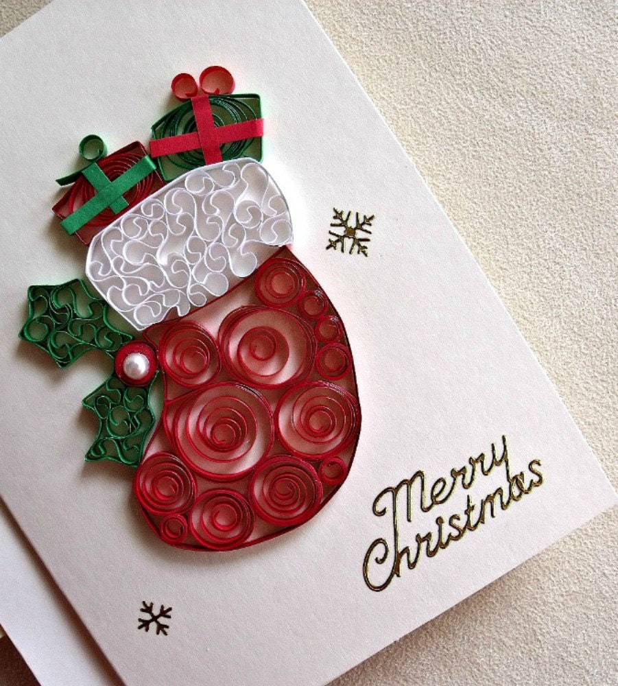 handmade paper quilled Christmas card Merry Christmas