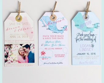 Wedding Invitation Magnet Sample. Save the Date Luggage Tags. Not personalized