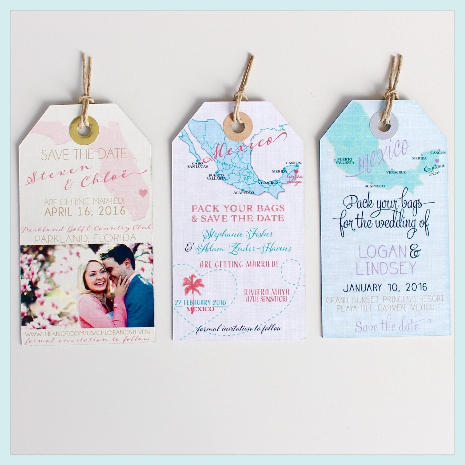 Wedding Invitation Magnet Sample. Save The Date Luggage Tags