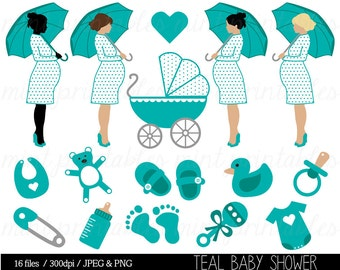 Baby Shower Clipart, Teal Baby Shower Clip Art, Baby Boy, Pregnant Clipart,