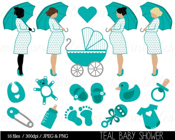 Baby Shower Clipart, Teal Baby Shower Clip Art, Baby Boy, Pregnant Clipart,  Baby Bump, Stroller   Commercial U0026 Personal   BUY 2 GET 1 FREE!
