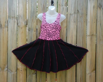 Upcycled Pink and Black Sleeveless Dress Made From Recycled T shirts T Shirts Dress Twirl Dress Circle Dress Summer Dress Spinner Dress