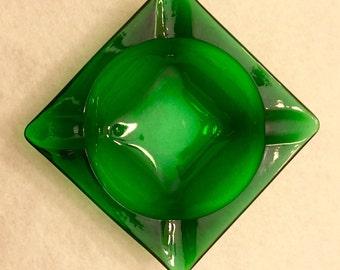 Anchor Hocking Emerald Green Glass Ashtray