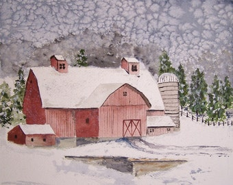 "barn in winter,watercolor painting, winter painting, 14.25"" x 10.25"", snow painting, scenic painting, painting of farm,winter painting."