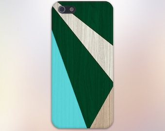 Geometric Green Turquoise Wood Blocks Case, iPhone 7, iPhone 7 Plus, Tough iPhone Case, Galaxy s8, Samsung Galaxy Case Note 5, CASE ESCAPE