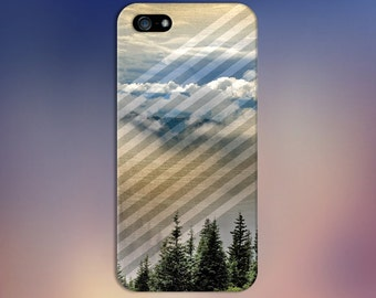 Cloudy Forest Sky Geometric Stripes Case Nature iPhone 6 6 Plus iPhone 7  Samsung Galaxy s8 edge s6 and Note 5  S8 Plus Phone Case