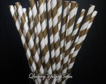 Stripe Paper Straws - Gold