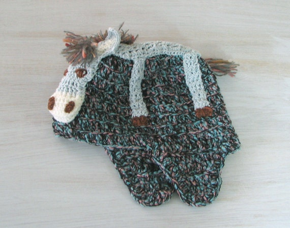 Knitting Pattern For Donkey Hat : Child Kids Beanie Hat Donkey Burro Hat Winter Spring by ...