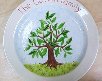 Personalized Family Tree Platter Hand Painted Exclusively For You with Your Family Names on the Leaves Home Wall Decor at Crafts by the Sea.