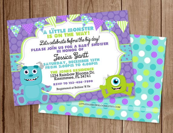 monsters inc printable baby shower invitation