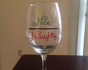 Christmas wine glass - naughty & nice with snowflakes