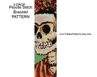 Sugar Skull Bracelet Bead Weaving Pattern - Day of the Dead Skull - 2 Drop Peyote Pattern