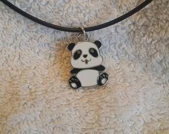 Panda Pendant on faux leather cord.