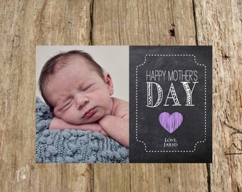 Customized Chalkboard Mother's Day Photo Card