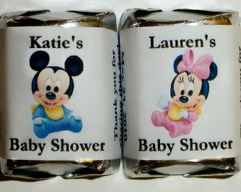 120 Mickey or Minnie Mouse BABY SHOWER Candy Wrappers Favors personalized labels ~ Free Shipping