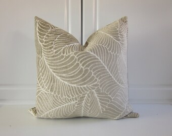 Pillow Cover-Taupe Chenille- Leaves