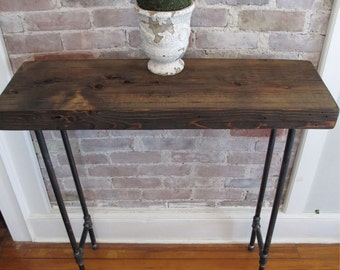 Industrial Console with Iron Pipe Legs,Reclaimed wood from NYC, Pipe Leg Table