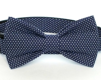 Navy Pin Dot Dog Collar Bow Tie set, pet bow tie, collar bow tie, wedding bow tie