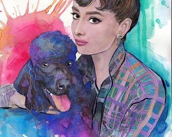 Audrey Hepburn  Watercolor Painting Audrey Hepburn watercolor print, Audrey Hepburn art