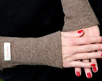 Cashmere Arm Warmers without thumbhole, cashmere gloves, present for her, handmade