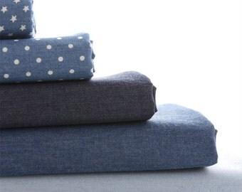 55 inch Width,Half Yard 7oz Lightweight Solid, Polka Dotted, Stars Patterned Washed Denim Fabric