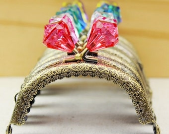 1 PCS of 8.5cm / 3.3 inch Crystal Diamond Beads Embossed Laciness Curved Bronze Purse Frame, 24 Colors