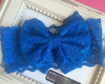 Bow Lace Large Bow Headband Baby Photo Shoot Turqoise lace bow headband Headwrap Turban Head Wrap