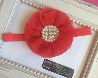 Headband Chiffon Flower Pearl Rhinestone Headband Red Headband Valentines Day 1st Birthday Newborn Photo Prop
