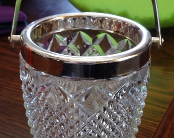 Crystal Ice Basket Bucket With Metal Handle