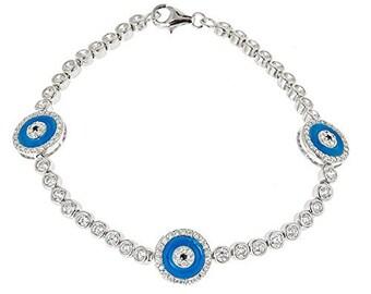Women's .925 Sterling Silver Tennis Bracelet w. Blue Evil Eye Charms