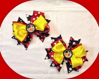 Classic Minnie & Mickey Mouse Hair Bows, Minnie Mouse Hair Bow, Mickey Mouse Hair Bow, Boutique Hair Bow