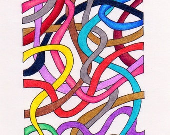 Abstract Art - Drawing - Raveled - Artwork