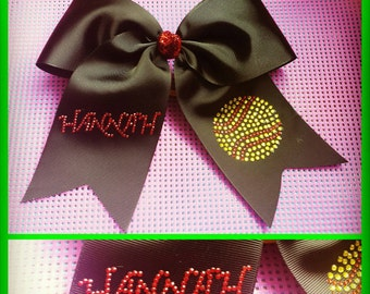 Personalized Black Softball Bow