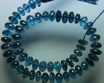 54 CARATS, 5 Inches Strand, AAA Deep Natural London Blue Topaz Faceted Rondelles, Size 7-7.5mm