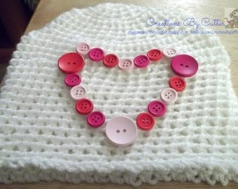 Heart or Valentines Beanie Hat, Costume, Photo Prop, Hearts,Wooden  Button Heart, Red, Pink, Hot Pink, Crochet