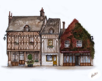 French Village Print, Watercolor Print, Country French Decor, Architecture Art, Village Shops, Earth Tones, Travel Art, Amboise France