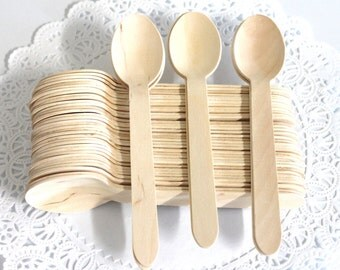"Heavy Weight 50 Disposable Natural Wooden Spoons birthday party  weddings  baby shower ""Same Day Shipping"""