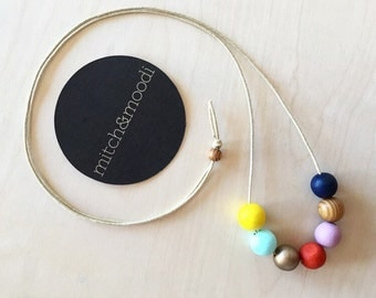 Rainbow Wooden Bead Necklace on Waxed Cotton