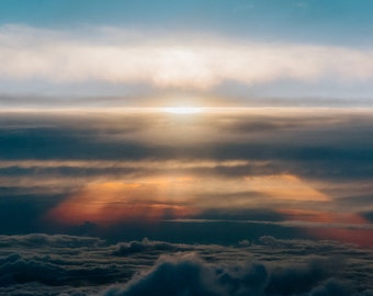 Sunset in the Clouds, Fine Art, Print, Aerial, Photography, Dream