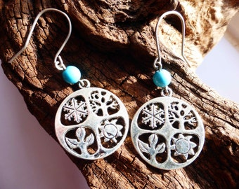Water Element Seasons Equinox Earrings - Four Elements Earrings - Turquoise Equinox Quarters Earrings - Hypoallergenic Titanium Ear Wires