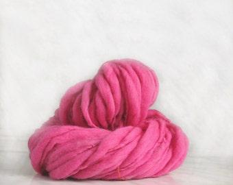 Thick and Thin slub wool yarn TTY pink 2.4 oz 36 yards 18µ handspun art yarn