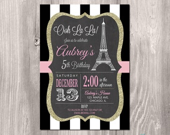 Paris Birthday Invitation - Printable Paris Invitation - Paris Invitation - Eiffel Tower Invitation - oh la la - French theme party