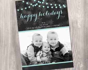 Christmas card, Photo Christmas Card, Custom Photo Christmas Card, black and white, chalkboard, printable christmas card, holiday card