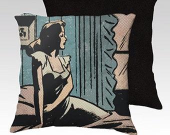 Pillow Case, Pop Art, Pillow, Throw Pillow, Comic Book, Romance Print, Printed Fabric, Pulp Romance, Home Decor
