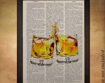 Whiskey Art Bourbon Dictionary Art Print Bourbon Decor Scotch Clink Alcohol Bar Art Drink Gift Ideas da499