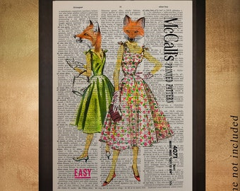 Fox Dictionary Art Print Dress Sewing Pattern Fashion Upcycled Wall Art Home Decor Fine Art Print Gift Ideas da649