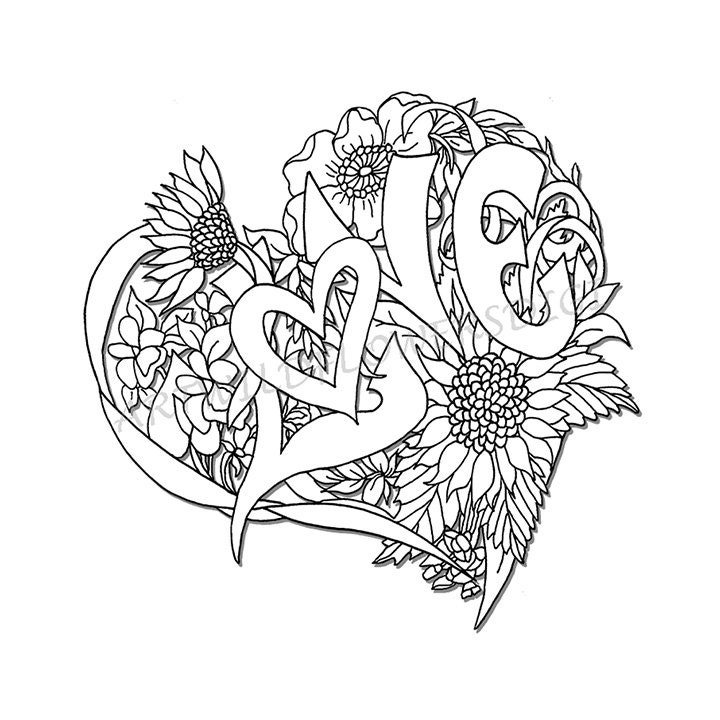wedding shower adult coloring page love heart digital wildflower floral color sheet for instant download i love you flowers